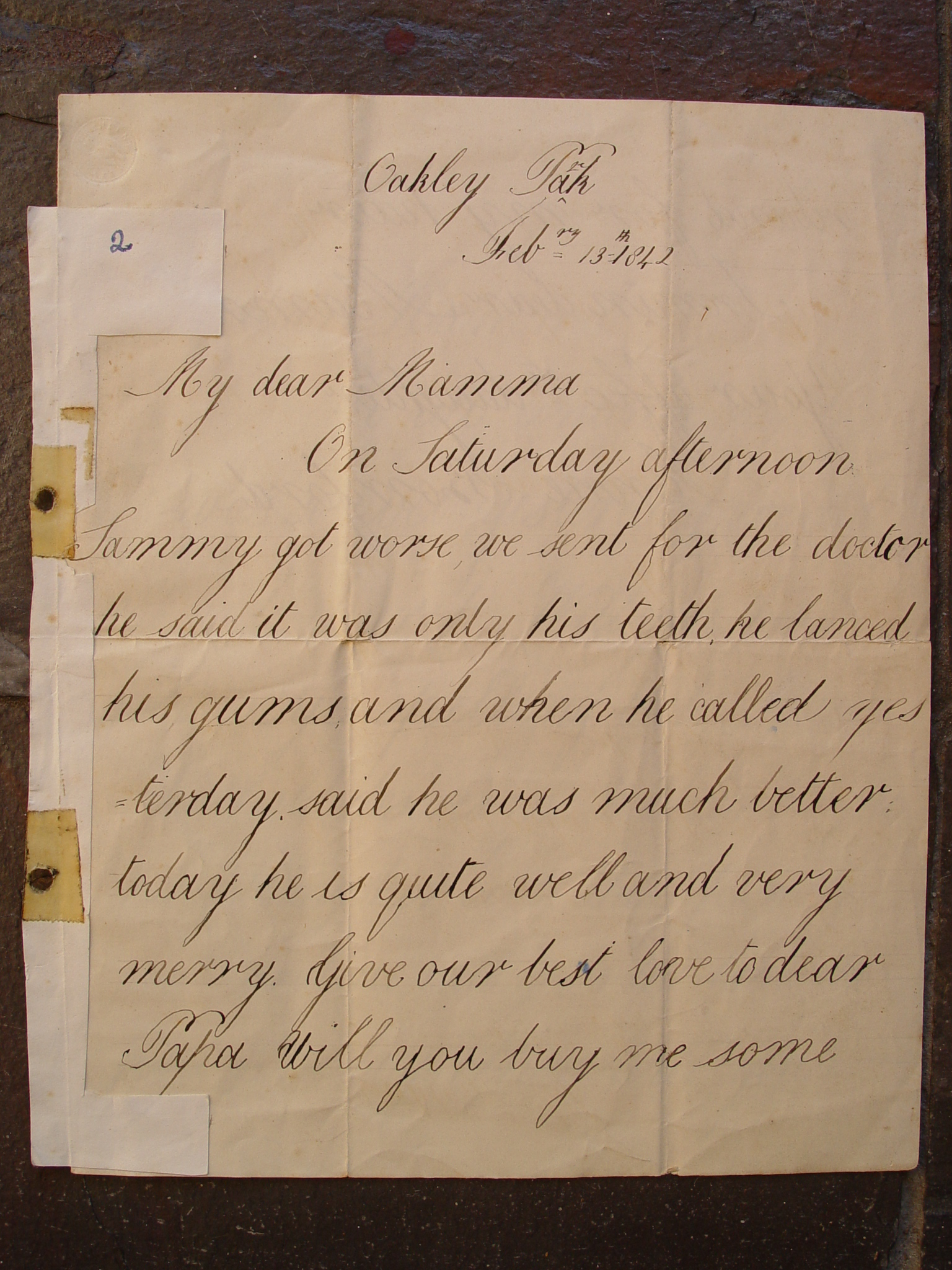 8915d2e8ac Letter from Anne Bomford to her Mamma 13 Feb 1842 page 1 ...